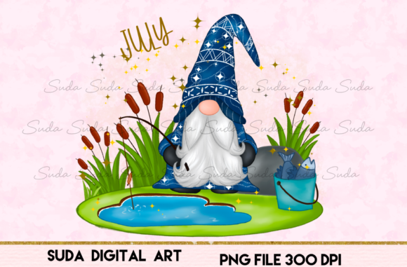 Print on Demand: July Calendar Design Sublimation Graphic Illustrations By Suda Digital Art
