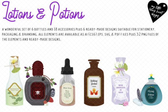 Lotions & Potions Graphic Illustrations By My Little Black Heart