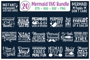 Print on Demand: Mermaid Quotes Design Bundle Gráfico Plantillas para Impresión Por GraphicsBooth