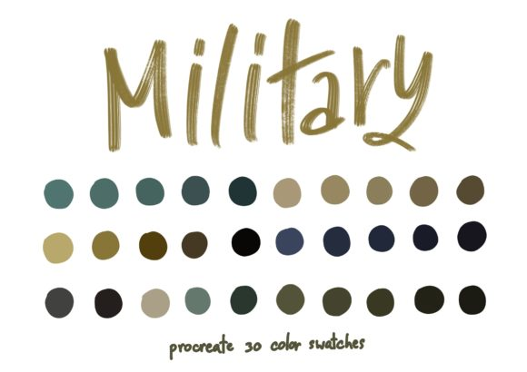 Military - Procreate Color Palettes Graphic Add-ons By Wanida Toffy