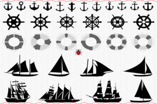 Nautical Icons, Black Silhouettes Digital Graphic Icons By SilhouetteDesigner