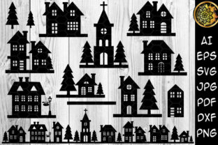 Print on Demand: Night Buildings Christmas Silhouette SVG Graphic 3D Pillow Box By V-Design Creator