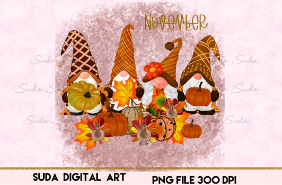 Print on Demand: November Calendar Design Sublimation Graphic Illustrations By Suda Digital Art