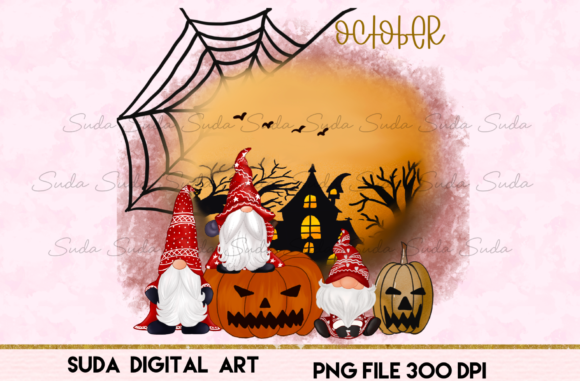Print on Demand: October  Calendar Design Sublimation Graphic Illustrations By Suda Digital Art