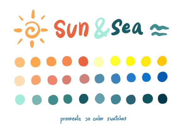 Sun&Sea - Procreate Color Palettes Graphic Add-ons By Wanida Toffy