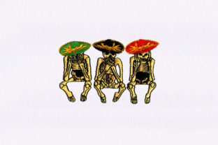 Three Wise Skeletons Halloween Embroidery Design By DigitEMB