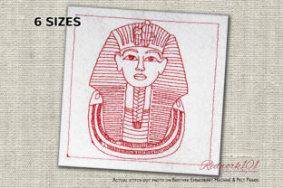 Tutankhamun's Burial Mask Africa Embroidery Design By Redwork101