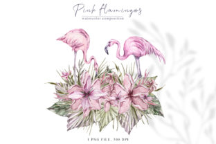 Print on Demand: Watercolor Pink Flamingo Clipart Graphic Illustrations By Tiana Geo
