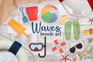 Waves Beach Set Graphic Crafts By Firefly Designs