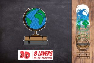3D Globe on Book Graphic Crafts By SvgOcean