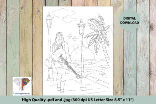 A Girl on Beach with Guitar Graphic Coloring Pages & Books Adults By ColoringBooks101