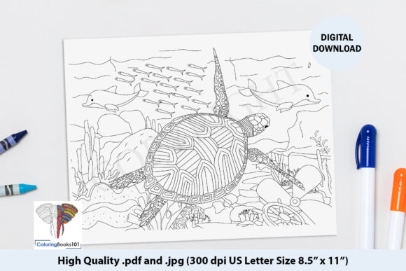 A Turtle and Other Sea Animal Graphic Coloring Pages & Books Adults By ColoringBooks101