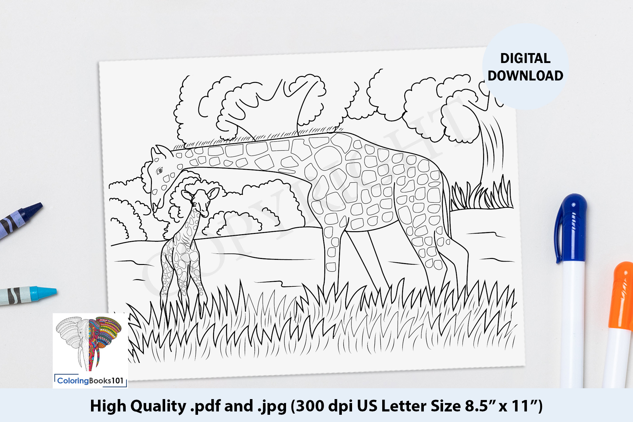 Baby Giraffe With Mother Coloring Page Grafik Von Coloringbooks101 Creative Fabrica