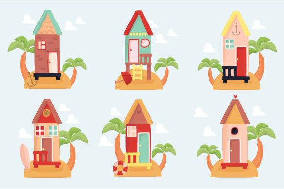 Beach Houses Illustration Collection Graphic Illustrations By april_arts