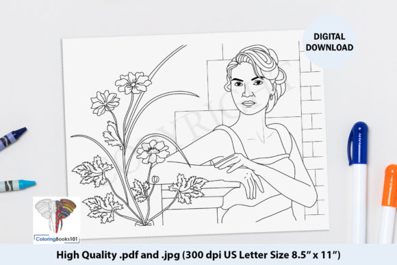 Beautiful Girl Standing Near the Plant Graphic Coloring Pages & Books Adults By ColoringBooks101