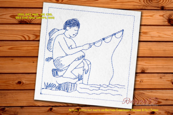 Boy Fishing at Sunset on the Lake Camping & Fishing Embroidery Design By Redwork101