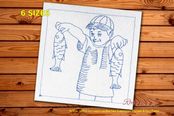 Boy with Fish Caught in Hands Redwork Camping & Fishing Embroidery Design By Redwork101