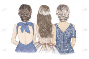 Bride with Her Sister & Mom Illustration Graphic Illustrations By MaddyZ