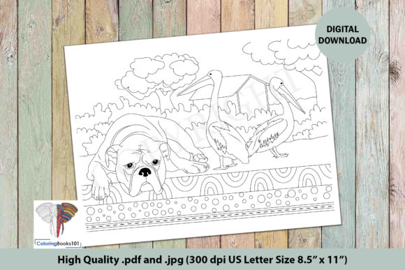 Bulldog Resting Near the Ducks Graphic Coloring Pages & Books Adults By ColoringBooks101