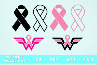 Print on Demand: Cancer Ribbon Bundle - 6 Designs Graphic Objects By HappyDesignStudio