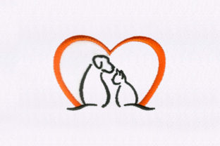 Cat & Dog Silhouette Animals Embroidery Design By DigitEMB
