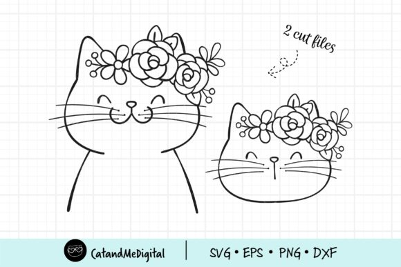 Cat with Flower Crown SVG Graphic Illustrations By CatAndMe