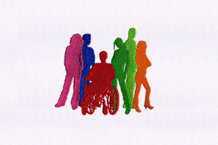 Colorful Silhouettes Friends Embroidery Design By DigitEMB