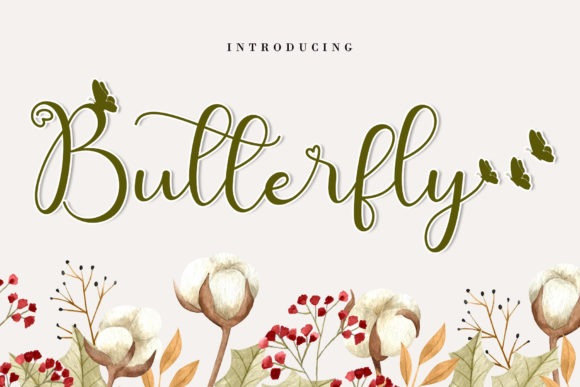 Print on Demand: Cute Butterfly Script & Handwritten Font By AEN Creative Studio
