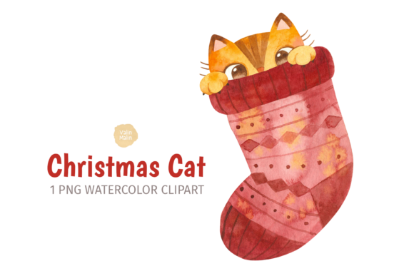 Print on Demand: Cute Ginger Cat in Christmas Stocking Graphic Illustrations By ValinMalin