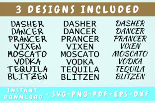 Print on Demand: Dasher Dancer Prancer Vixen - 3 Designs Graphic Objects By HappyDesignStudio
