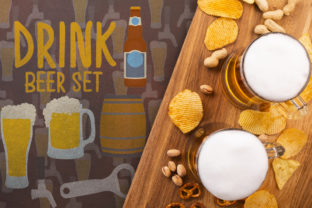 Drink Beer Set Graphic Crafts By Firefly Designs