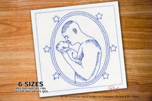 Father Kissing Boy Lineart Father's Day Embroidery Design By Redwork101