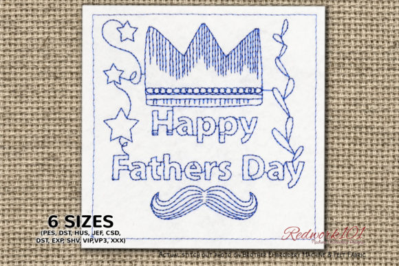 Fathers Day Crown Bluework Father's Day Embroidery Design By Redwork101