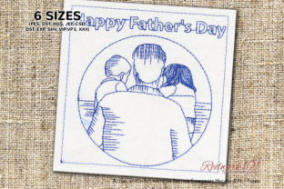Father's Day Girl and Boy Redwork Father's Day Embroidery Design By Redwork101
