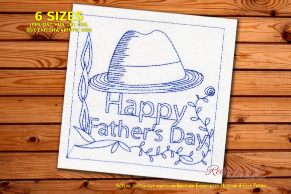 Fathers Day Hat Redwork Father's Day Embroidery Design By Redwork101