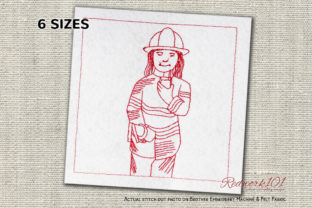 Female Fire Fighter in Uniform Redwork Work & Occupation Embroidery Design By Redwork101