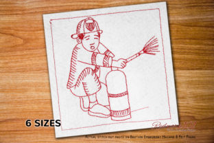 Fire Fighter Extinguisher Redwork Work & Occupation Embroidery Design By Redwork101