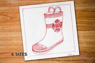 Firefighter Boots Lineart Work & Occupation Embroidery Design By Redwork101