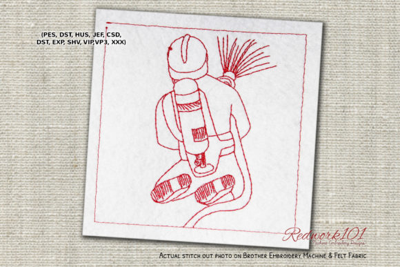 Firefighter Fighting a Fire Scene Work & Occupation Embroidery Design By Redwork101