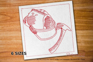 Firefighter Hat and Hammer Redwork Work & Occupation Embroidery Design By Redwork101