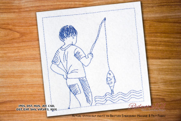 Fisherman with Rod and Fish Redwork Camping & Fishing Embroidery Design By Redwork101