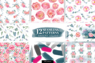 Floral Boxes. Seamless Patterns Set. Graphic Patterns By HappyWatercolorShop