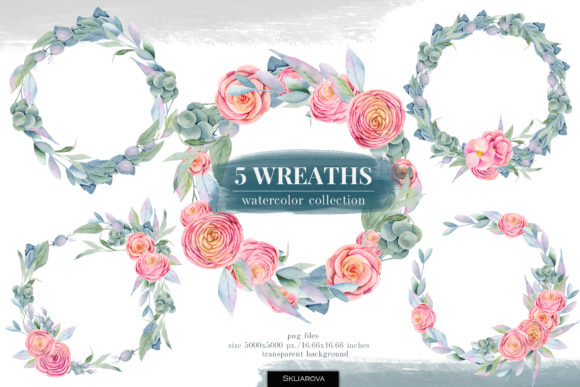 Floral Boxes. Watercolor Wreaths. Graphic Illustrations By HappyWatercolorShop