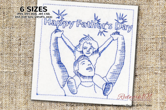 Girl Father Day Redwork Father's Day Embroidery Design By Redwork101