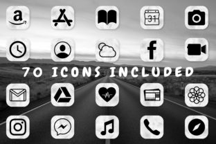 Print on Demand: Gray Watercolor App Icons for IOS 14 Graphic Icons By HappyDesignStudio