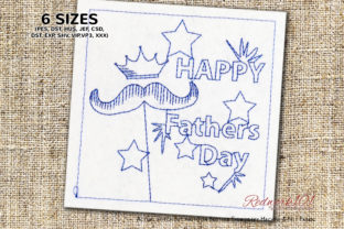Happy Fathers Day Lineart Father's Day Embroidery Design By Redwork101