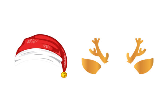 Hat and Horn Christmas Vector Graphic Illustrations By vijackstudio