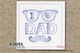 I Love Dad Father's Day Embroidery Design By Redwork101