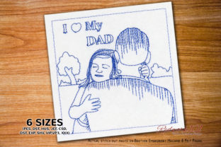 I Love My Dad Girl Redwork Father's Day Embroidery Design By Redwork101