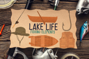 Lake Life, Fishing Elements Graphic Crafts By Firefly Designs